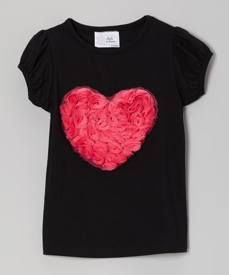 Black Rosette Heart Puff-Sleeve Tee - Infant, Toddler & Girls