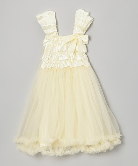 Ivory Ruffle Tulle Babydoll Dress - Infant, Toddler & Girls