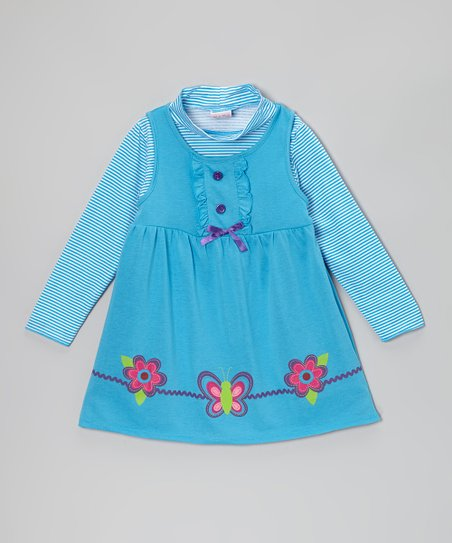 Blue Butterfly Blossom Layered Dress - Girls
