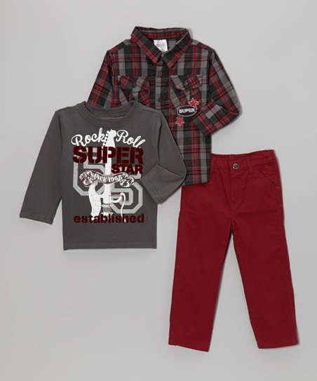 Gray Plaid Button-Up Set - Infant & Toddler