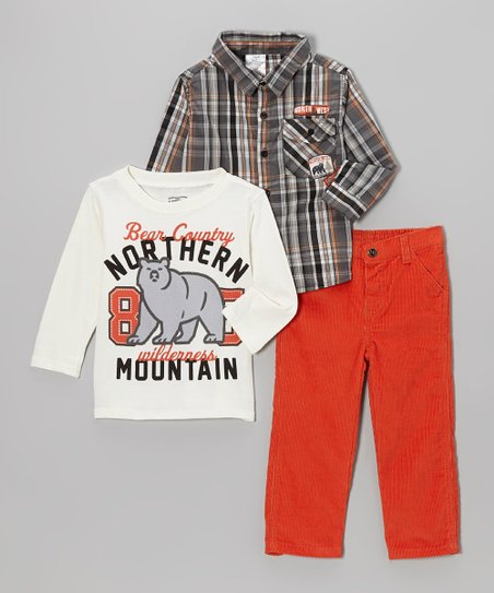 White 'Bear Country' Tee Set - Boys