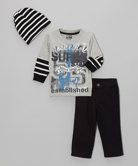 Gray 'Rock & Roll' Layered Tee Set - Infant & Boys