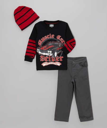 Black 'Muscle Car' Layered Tee Set - Infant, Toddler & Boys