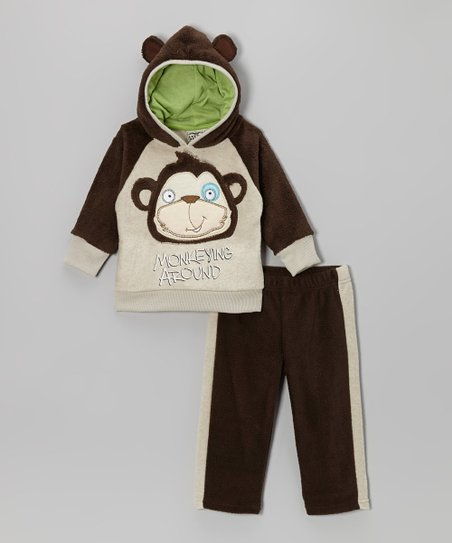 Brown Monkey Hoodie & Track Pants - Infant