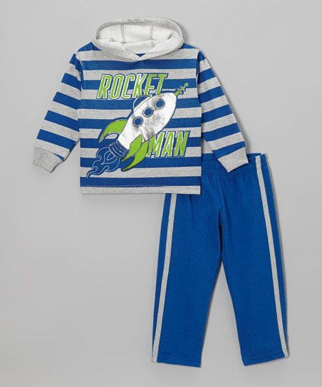 Blue Stripe Hoodie & Track Pants - Infant & Toddler