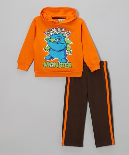 Orange 'Monster' Hoodie & Track Pants - Infant & Toddler