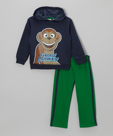 Navy Monkey Hoodie & Green Track Pants - Infant & Toddler