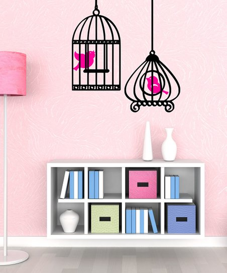 Black & Hot Pink Bird & Cage Wall Decal