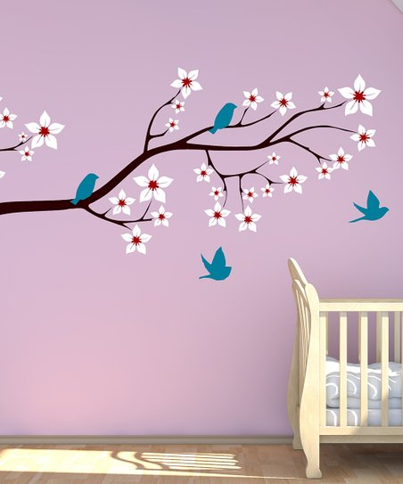 Brown Bird & Blossoming Branch Wall Decal