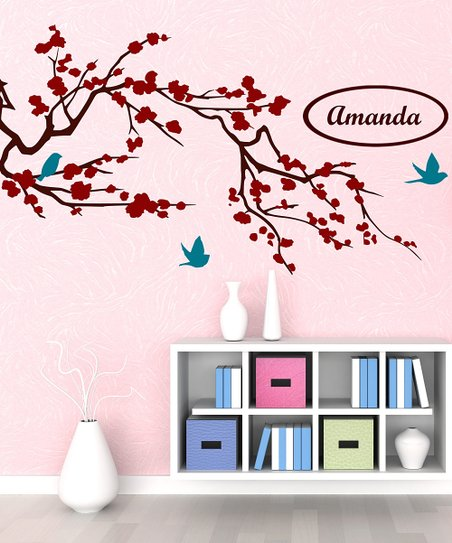 Brown & Red Cherry Blossom Branch Personalized Wall Decal