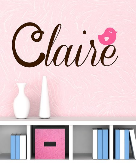 Brown & Light Pink Bird Personalized Wall Decal
