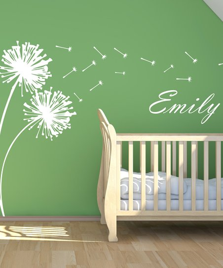 White Blowing Dandelion Personalized Wall Decal