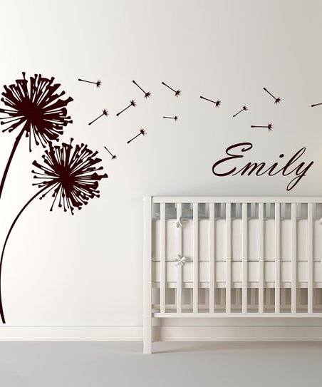 Brown Blowing Dandelion Personalized Wall Decal