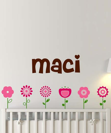 Brown & Pink Flower Personalized Wall Decal