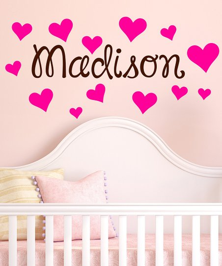 Brown & Hot Pink Heart Personalized Wall Decal