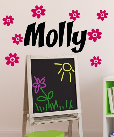 Black & Hot Pink Flower Personalized Wall Decal