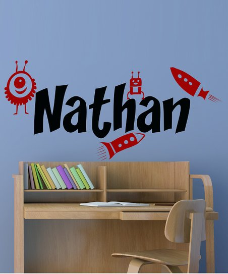 Black & Red Space Pal Personalized Wall Decal