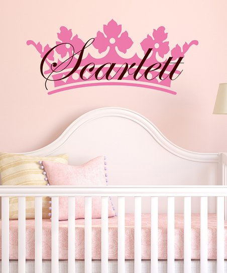 Light Pink & Brown Crown Personalized Wall Decal