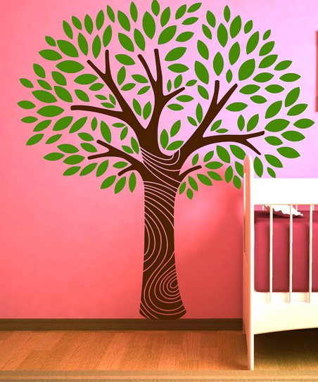 Light Green &amp; Brown Tree Wall Decal