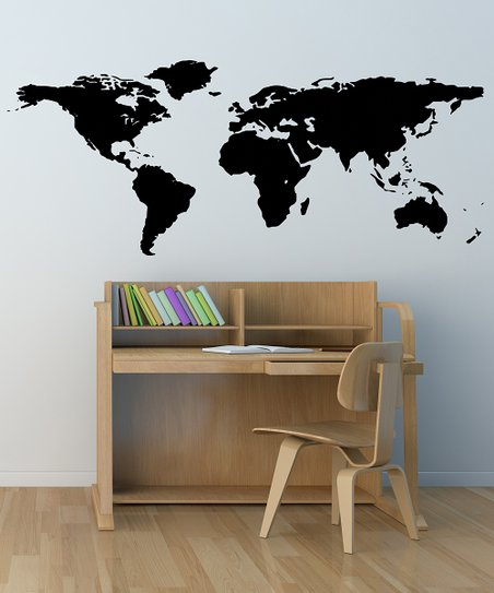 Black World Map Wall Decal