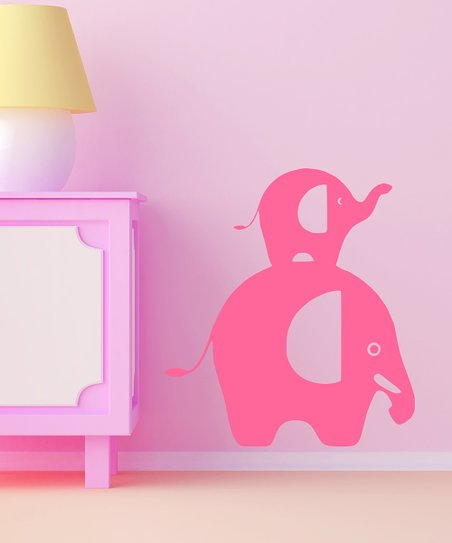 Light Pink Stacked Elephant Wall Decal
