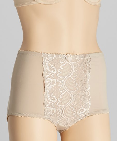 Nude Lace High-Waisted Control Briefs - Women & Plus