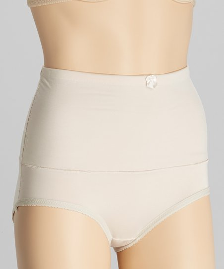 Beige Bow High-Waisted Control Briefs - Women & Plus