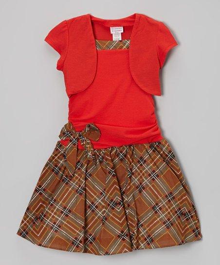 Brown & Red Tartan Layered Drop-Waist Dress