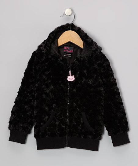 Black Kitty Faux Fur Zip-Up Hoodie - Infant & Toddler