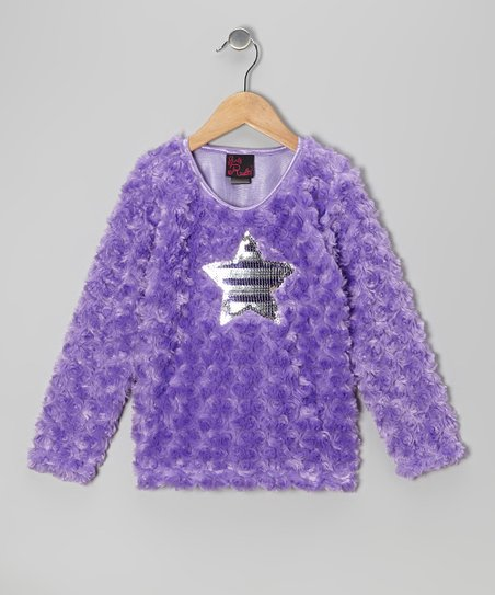 Purple Star Faux Fur Top - Girls