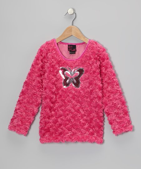 Fuchsia Butterfly Faux Fur Top - Girls
