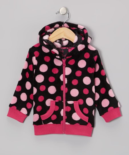 Black Polka Dot Zip-Up Hoodie - Toddler & Girls
