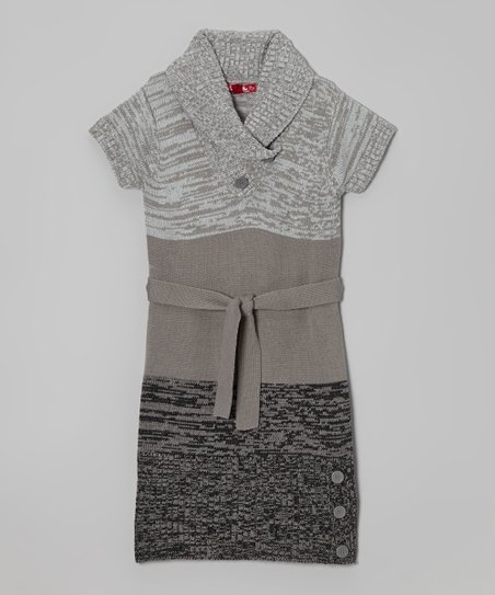 Gray Belted Shawl Collar Dress - Girls