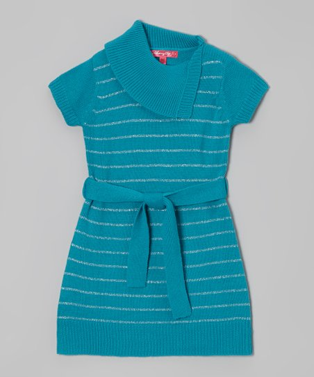 Mermaid & Silver Stripe Split-Neck Dress - Girls