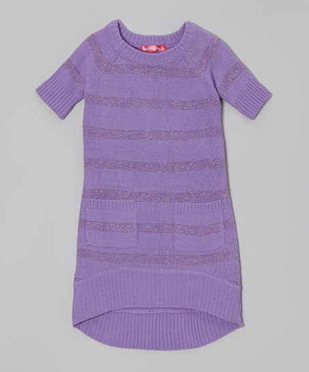 Purple Moon Shimmer Stripe Sweater Dress - Toddler & Girls