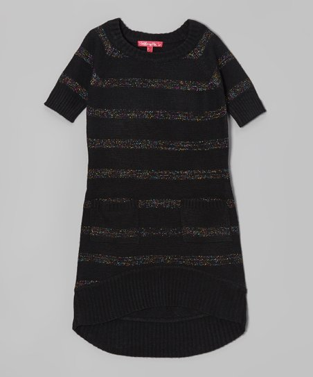 Black Shimmer Stripe Sweater Dress - Toddler & Girls