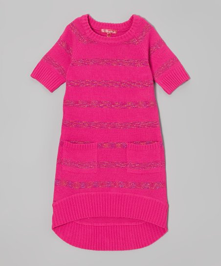 Lollipop Pink Shimmer Stripe Sweater Dress - Toddler & Girls