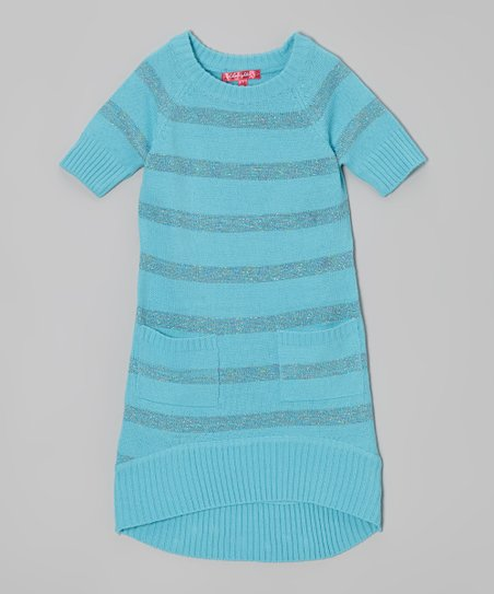 Bluebell Shimmer Stripe Sweater Dress - Toddler & Girls