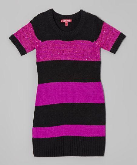 Very Berry & Black Stripe Sweater Dress - Girls