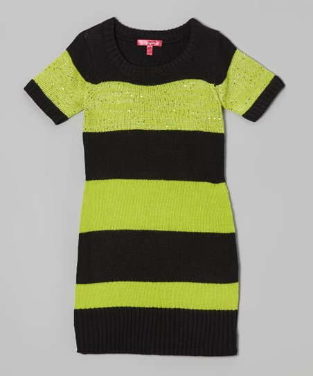 Bright Apple & Black Stripe Sweater Dress - Girls
