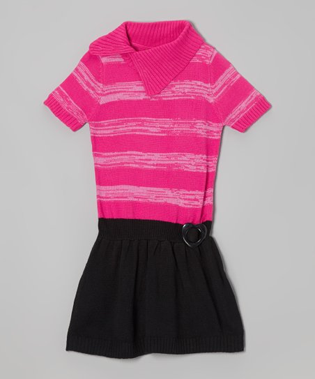 Lollipop Pink & Black Heart Split-Neck Sweater Dress - Girls