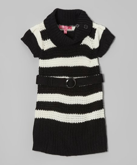 Antique Ivory & Black Stripe Belted Cowl Neck Dress - Girls