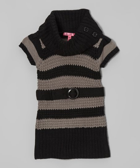 Gray & Black Stripe Belted Cowl Neck Dress - Girls