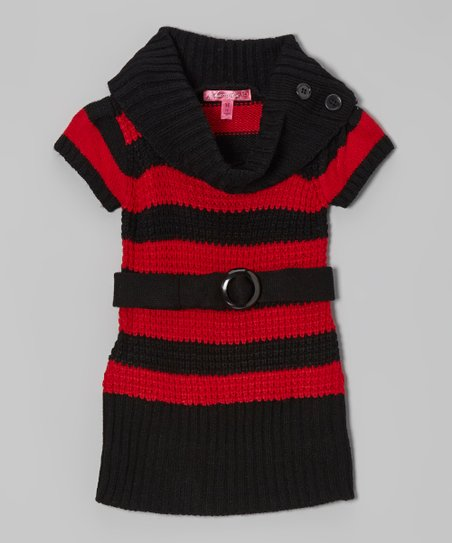True Red & Black Stripe Belted Cowl Neck Dress - Girls