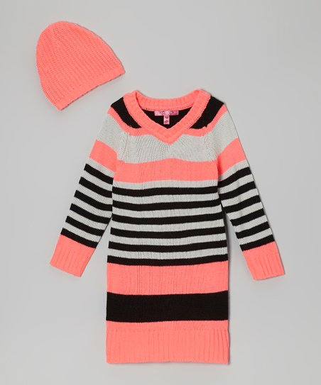 Electric Coral Stripe V-Neck Sweater Dress & Beanie - Girls