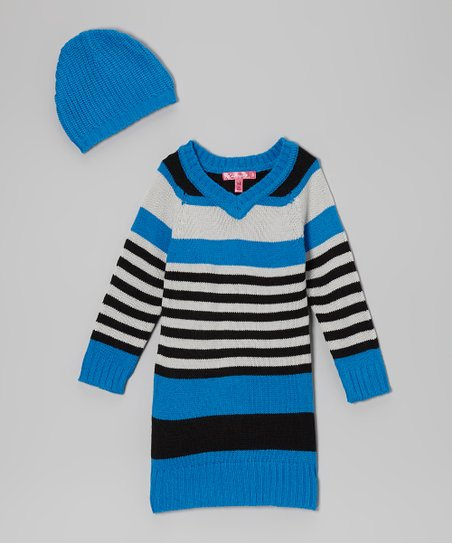 Electric Blue Stripe V-Neck Sweater Dress & Beanie - Girls