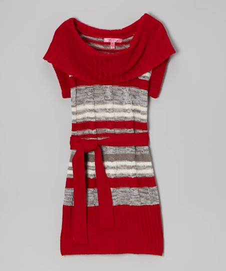 Chili Red & Gray Belted Cowl Neck Dress - Toddler