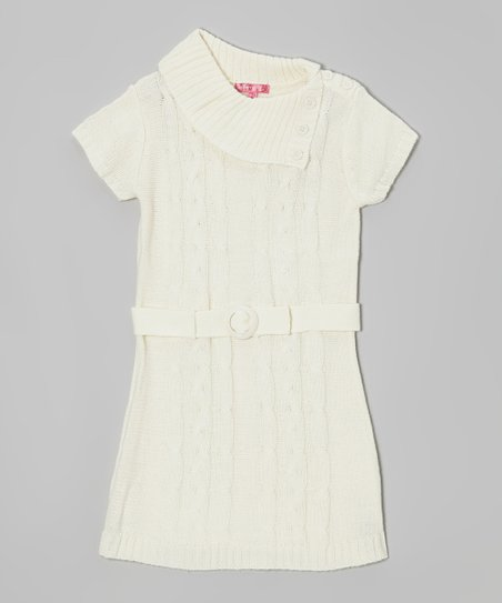 Antique Ivory Belted Split-Neck Sweater Dress - Girls