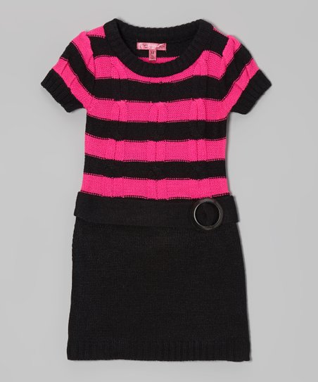 Lollipop Pink & Black Belted Sweater Dress - Girls