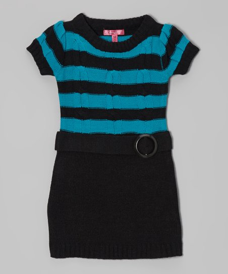Mermaid & Black Belted Sweater Dress - Girls